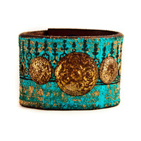 Boho Gypsy Chic Leather Cuff Upcycled Jewelry by rainwheel on Etsy