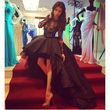 Sexy Black Taffeta Long Lace Sleeve High Low Prom Dress For Special Occasion Short Front Long Back Party Gowns