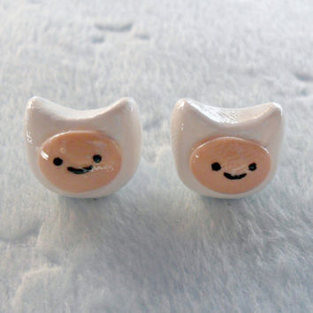 Finn (Adventure Time) Earrings :D