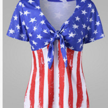Bow Tie Women Shirt Bluas Tshirts Crop Tops 4th Of July Usa Flag Printed Shirt Short Sleeve V neck Sexy Blusa Tunic 5XL LJ9884T