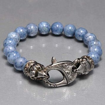 Stephen Webster London Calling Raven Head Grey Coral Bead Bracelet