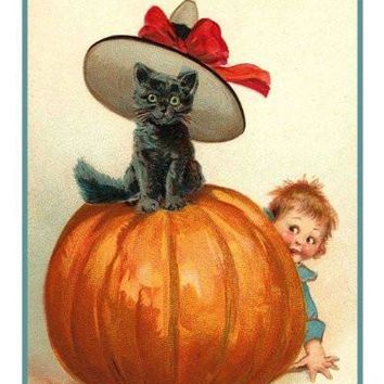 Vintage Halloween Black Cat Pin-Up DIGITAL Counted Cross-Stitch Pattern Chart