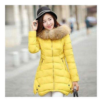 Winter Woman Middle Long Slim Plus Size Down Coat   yellow