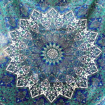 Blue Cotton Fabric Printed Psychedelic Mandala Hippie Bedspread Bohemian Tapestry Wall Hanging Throw Boho Bedding Ethnic Decor-FabricSarmaya