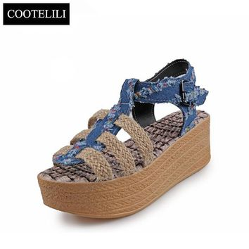 COOTELILI 35-39 Fashion Summer Ladies Sandals Cowboy Hemp Rope Wedges Sandals Gladiators Mixed Colors Buckle Shoes for Women