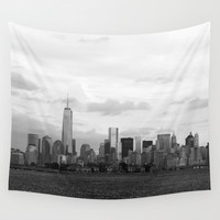 Manhattan Skyline B-W,Wall Tapestry,NewYork,City,Black,Modern Wall Art,Home Decor,Home Accessories,Bedroom Art,Unique Design,Interior Design