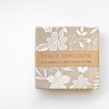 Ceramic coasters Delicate Flowers White on Tan / by Tilissimo