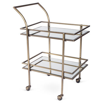 Lykes Mirrored Bar Cart, Brass, Bar Carts