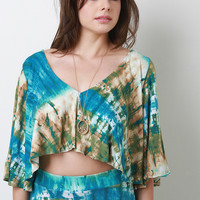 Tie Dye Bell Sleeve Crop Top