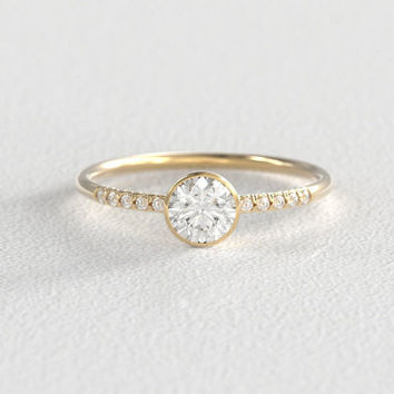 Half Carat Heirloom Vintage Recycled Diamond Bezel Set Solitaire Engagement Ring set in Recycled 14k Gold with Pavé set diamond side stones
