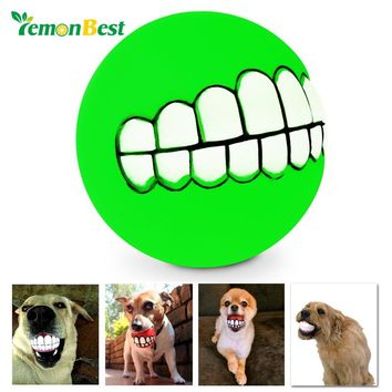 LemonBest Pets Dog Puppy Cat Ball Teeth Style Toy Silicone Chew Sound Play Tool Puppy Cat Ball Toy  Chew Toys Sound Novelty Play