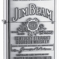 Zippo Jim Beam Bourbon Label Emblem Pocket Lighter, High Polish Chrome