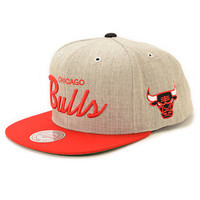 NBA Mitchell and Ness Heat Script Road Snapback Hat