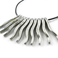 Statement Necklace, Metal Fringe Pendants , Boho Style Necklace, Tribal Bohemian Necklace