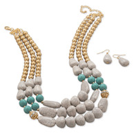 Chunky Beaded Fashion Necklace and Earring Set