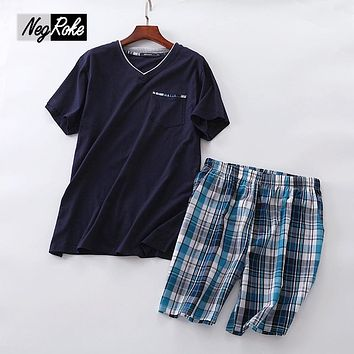 2017 Summer Sale 100% cotton V-neck short sleeve shorts sets men sleepwear pajama sets for male  pijama hombre mens pyjama