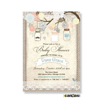 Burlap And Lace Rustic Baby Shower Invitation Mason Jar S