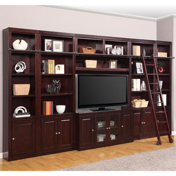Boston Library Inset Entertainment Wall Ladder 6 Piece Merlot