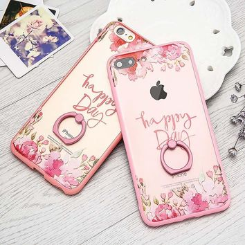 High Quality Hard Acrylic PC Phone Cases For iphone 7 6 6s Plus Funda Fashion Painted Flower Capa Ring Holder Stand Coque Shell