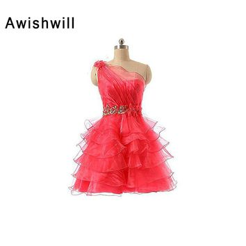 Real Picture Fashion One Shoulder Beadings Tired Organza Homecoming Dress Short Prom Gowns Cheap Cocktail Dress 2018