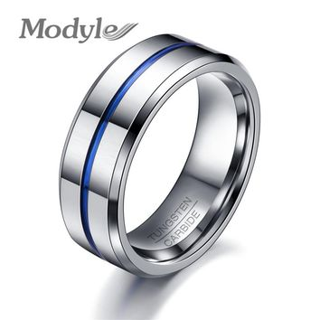 Modyle 2017 Fashion Thin Blue Line Tungsten Ring Wedding Brand 8MM Tungsten Carbide Rings for Men Jewelry
