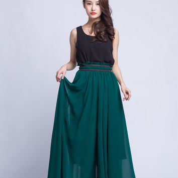 High Waist Wedding Skirt Chiffon Long Skirts Beautiful Elastic Waist Summer Skirt Floor Length Beach Skirt (201) 77#