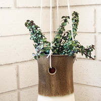 mottled hanging pot by twpottery on Etsy