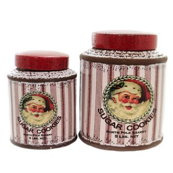 Tabletop SUGAR COOKIES CANISTER SET/2 Ceramic Vintage Look Lc0826
