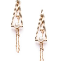 Balancing Act Triangle And Pearl Ear Jackets - Happiness Boutique