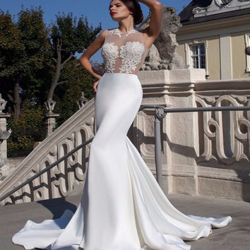 Satin Applique Womens Camo Wedding Dresses Mermaid 2017 Vestidos De Novia Zipper-Up Court Train Bridal Gown