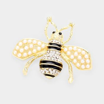 Crystal Embellished Tiny Pearl Wing Honey Bee Brooch