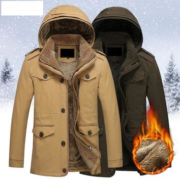 Cockscomb Warm Fleece Lining Winter Trench Coat Men Removable Hood Single Breasted Cotton Jackets Outerwear Plus Size 5XL 6XL