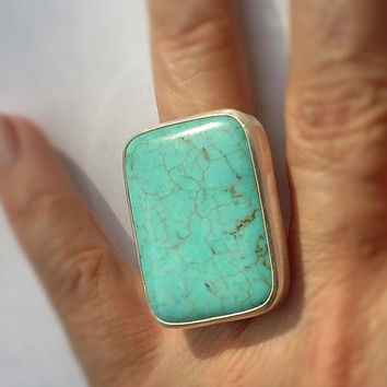 Large Turquoise Silver Ring Handmade with Fine Silver ( .999) and a Square blue gemstone, is a  Statement, Cocktail  or Fashion Jewelry