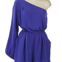 Blue One Shoulder Woven Romper with Cinched Waist