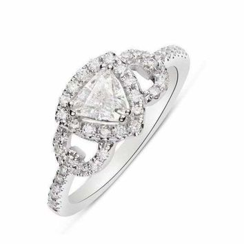Luxinelle 14K White Gold 0.51 Carat Trillion Cut Diamond Halo Engagement Ring - 0.80 TCW by Luxinelle® Jewelry