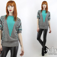 Vintage 80s Grey + Teal Geometric Summer Knit Top S M Summer Sweater 80s Sweater 80s Knit Grey Sweater Teal Sweater Graphic Sweater