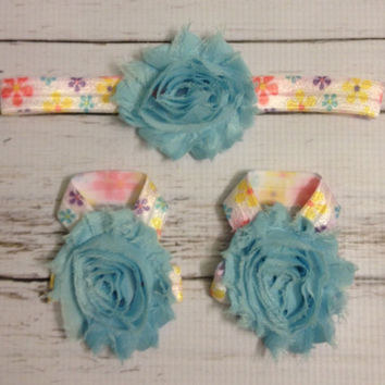 Baby Barefoot Sandals.. Headband Set..Flower headband... Flower Barefoot Sandals