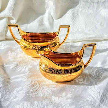 Vintage 22 Kt Gold Gild Creamer and Sugar by Stouffer Fine China, Etched Brocade Gold Tea Gold Creamer Floral Design on Gold, High Tea Party