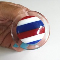 "Vintage Patriotic Laminated Clear Lucite Round Button Pin 1.75"" Mod 1960s"