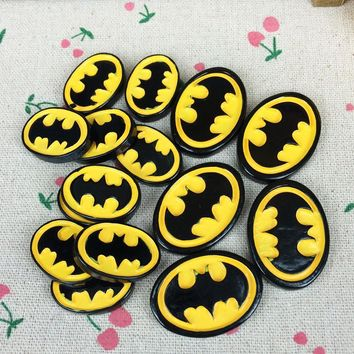 Batman Dark Knight gift Christmas Two Sizes 10 Pieces Flat Back Resin Cabochon Cartoon Batman Logo DIY Flatback Decorative Craft Embellishment Hair Bow Center AT_71_6