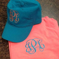 Monogrammed State Comfort Color Tank Top and Hat Set - Great for graduation, Spring break, Greeks, and women of all ages