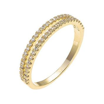 Deerlux Fashion Gold Plated Cubic Zirconia Wedding Ring for Women