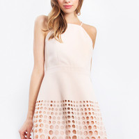 Gorgeous Blush Dress with Laser Cut Detail on the Hem.