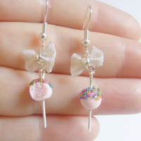 Cake Pop Miniature Food Earrings - Miniature Food Jewelry,Handmade Jewelry Earrings
