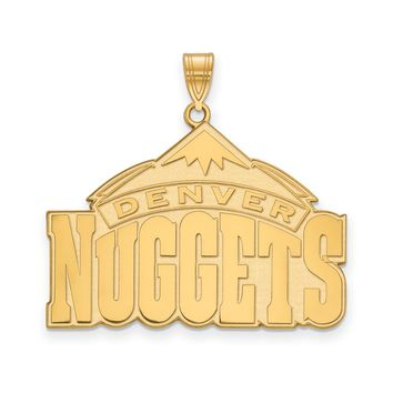NBA Denver Nuggets Xlarge Logo Pendant in 10k Yellow Gold