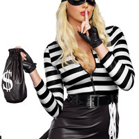 Black Long Sleeve Striped Zipped  Cat Burglar Costume