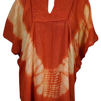 Mogul Interior Womens Erin Orange Tie Dye Caftan Top Beachwear Loose Shirt Short Kimono Top 4XL: Amazon.ca: Clothing & Accessories