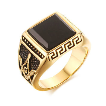 Rebellious - Black Plated Ring - Gold