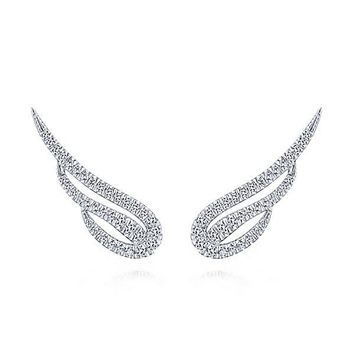 14K White Gold 1/2cttw Pave Diamond Angel's Wings Stud Earrings
