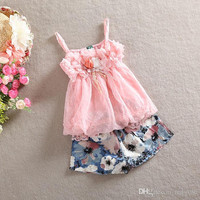 New Arriva Summer Kids Baby Clothing Girl Chiffon Gallus Shirt + Flower Shorts 2pcs Sets Children Suit Outfits